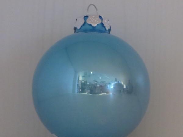 Christbaumkugel blau groß glänzend