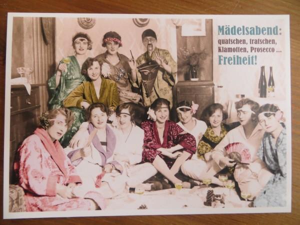 """Postkarte Karte """"Mädelsabend: quatschen, tratschen, Klamotten, Prosecco... Freiheit!"""" Paloma"""