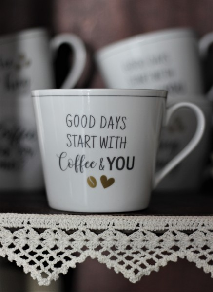 "Happy Cup Tasse ""Good days start with coffee & you"" 400ml, Krasilnikoff"
