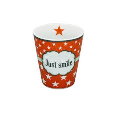 "Mug Kaffeebecher ""just smile"" in orange mit Sternen"