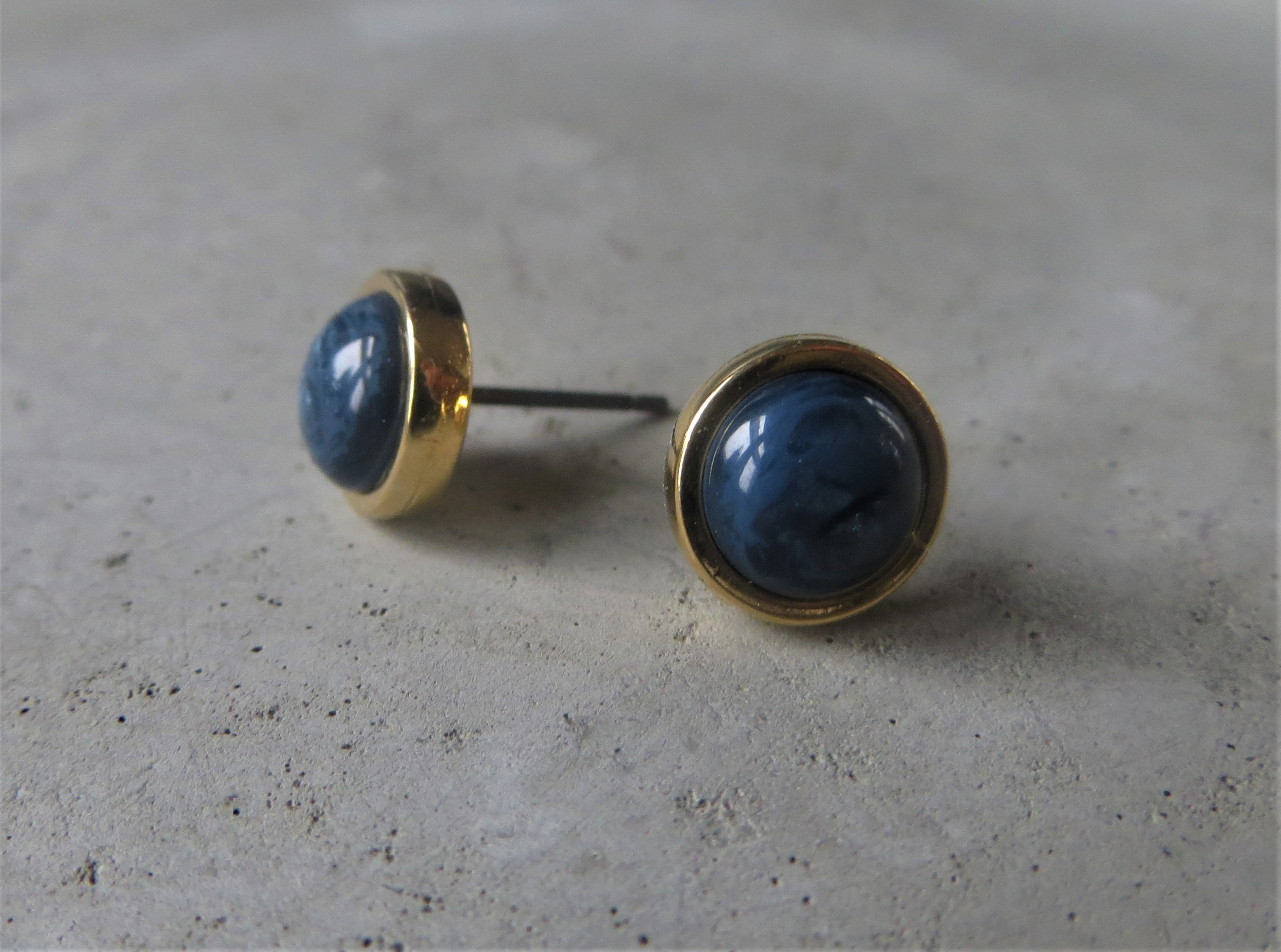 Ohrringe - QOSS Ohrring Ohrstecker BO GOLD Jeansblau  - Onlineshop Tante Emmer