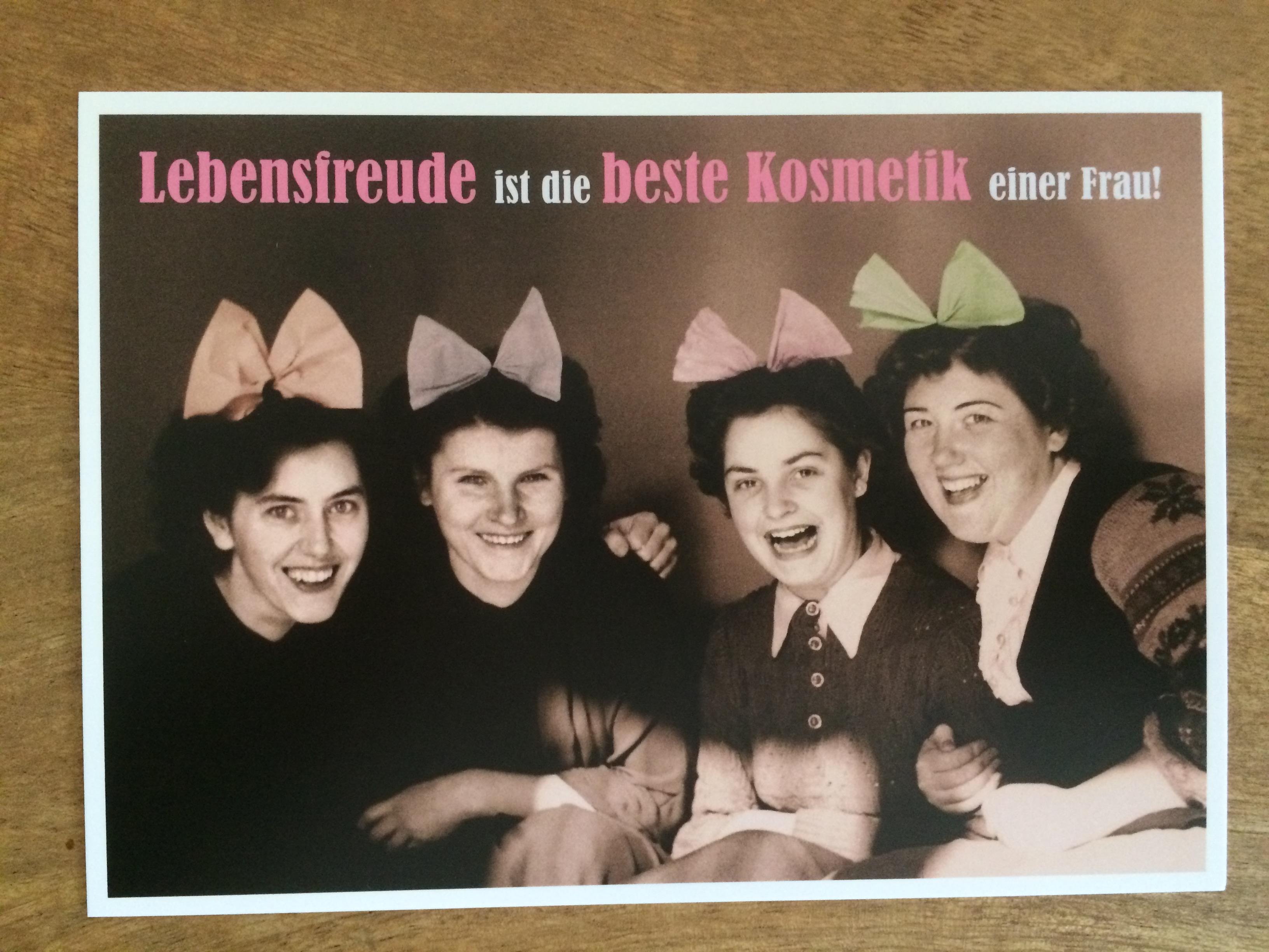 Postkarte Karte Lebensfreude ist die beste Kosmetik einer Frau Paloma