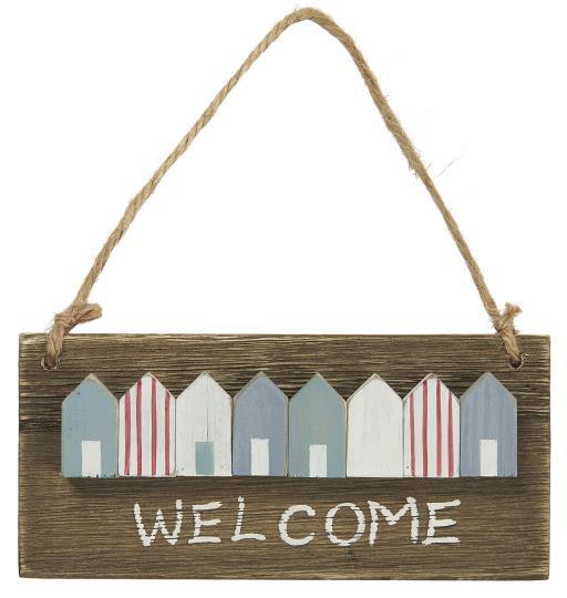 Witzigschilder - Holz Schild Welcome mit Häusern Ib Laursen ApS - Onlineshop Tante Emmer