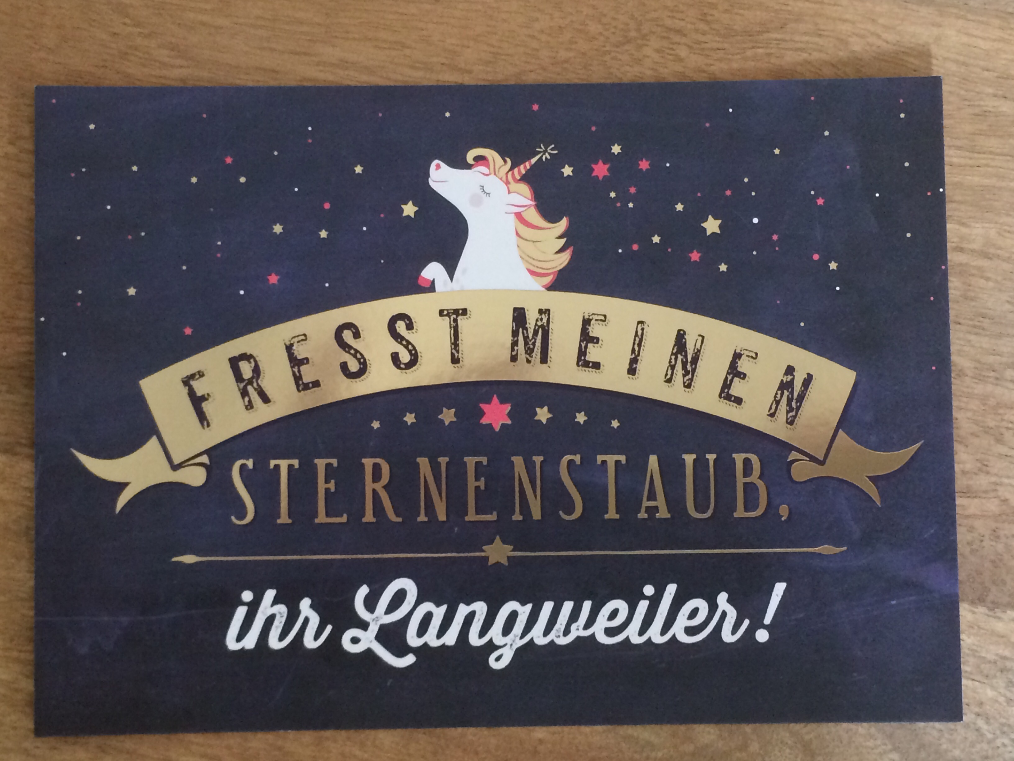 Postkarte Fresst meinen Sternenstaub ihr Langweiler Vintage Art
