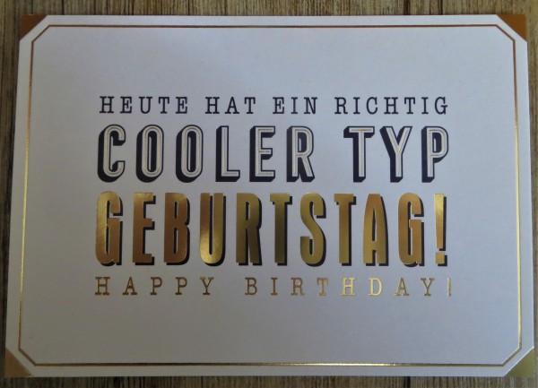 """Postkarte """"HEUTE HAT EIN RICHTIG COOLER TYP GEBURTSTAG! HAPPY BIRTHDAY!"""" VintageArt"""