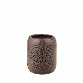 "Teelichthalter ""Magneta"" Keramik dunkel Leinen groß broste cop"