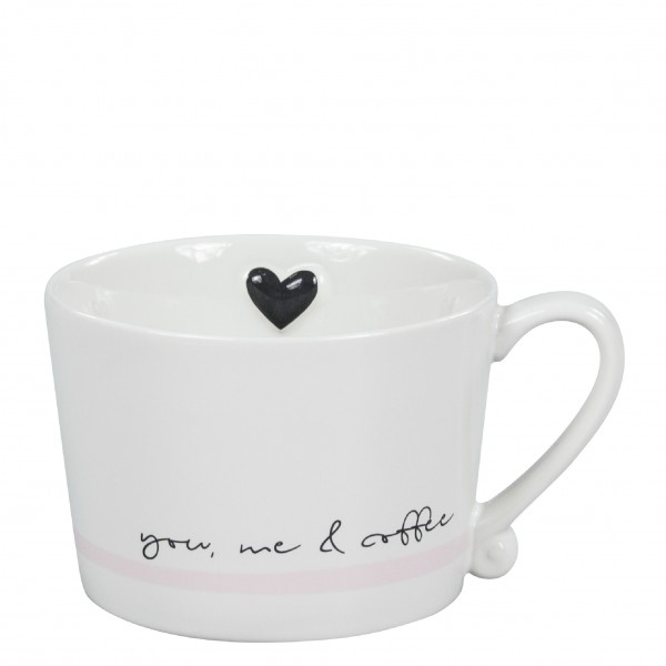 "Becher / Tasse weiß/rosa ""you, me & coffee "" Bastion Collections B.V."
