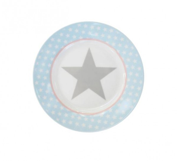 Happy Plate / Teller Blue big star