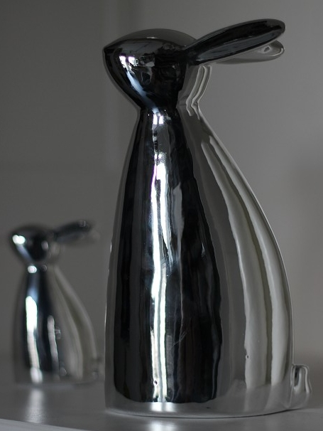 Osterhase silber Osterdeko Höhe ca. 17 cm
