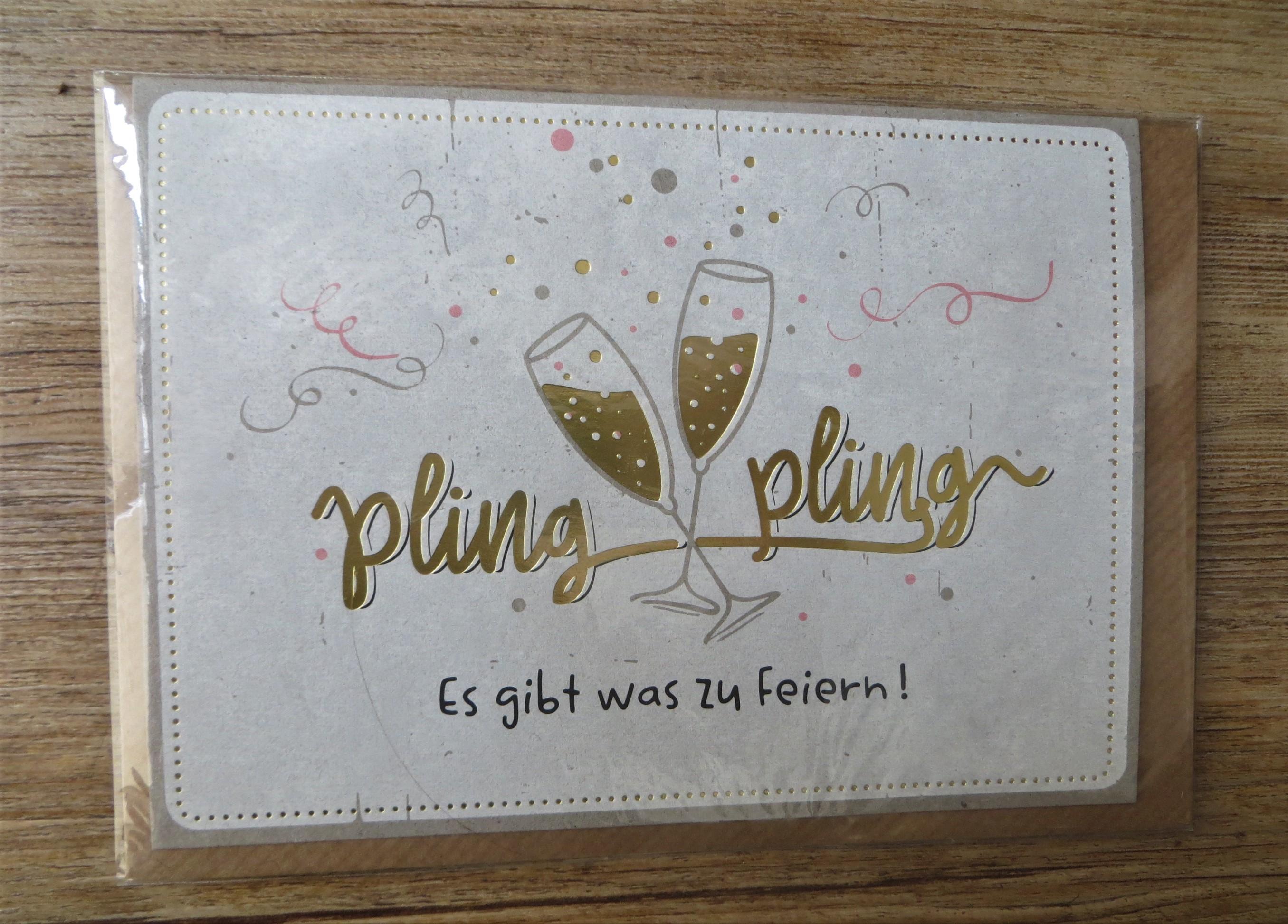 Klappkarte Umschlagkarte pling pling Es gibt was zu Feiern KUNST und BILD