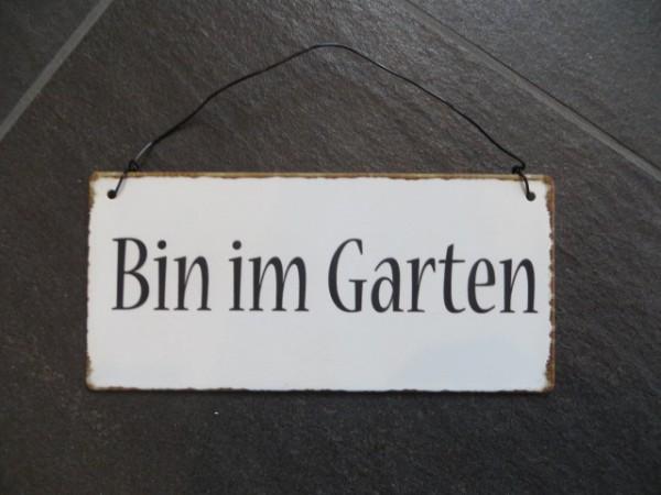 """Metall Schild """"Bin im Garten"""" mit Drahtaufhänger Ib Laursen ApS"""
