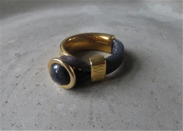 QOSS Fingerring GWEN GOLD Vintage-Schwarz/ Anthrazit, L