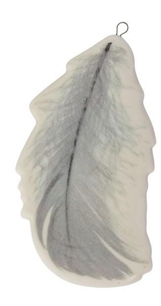 Porzellan-Anhänger mit Feder bedruckt (4fach sortiert:1)