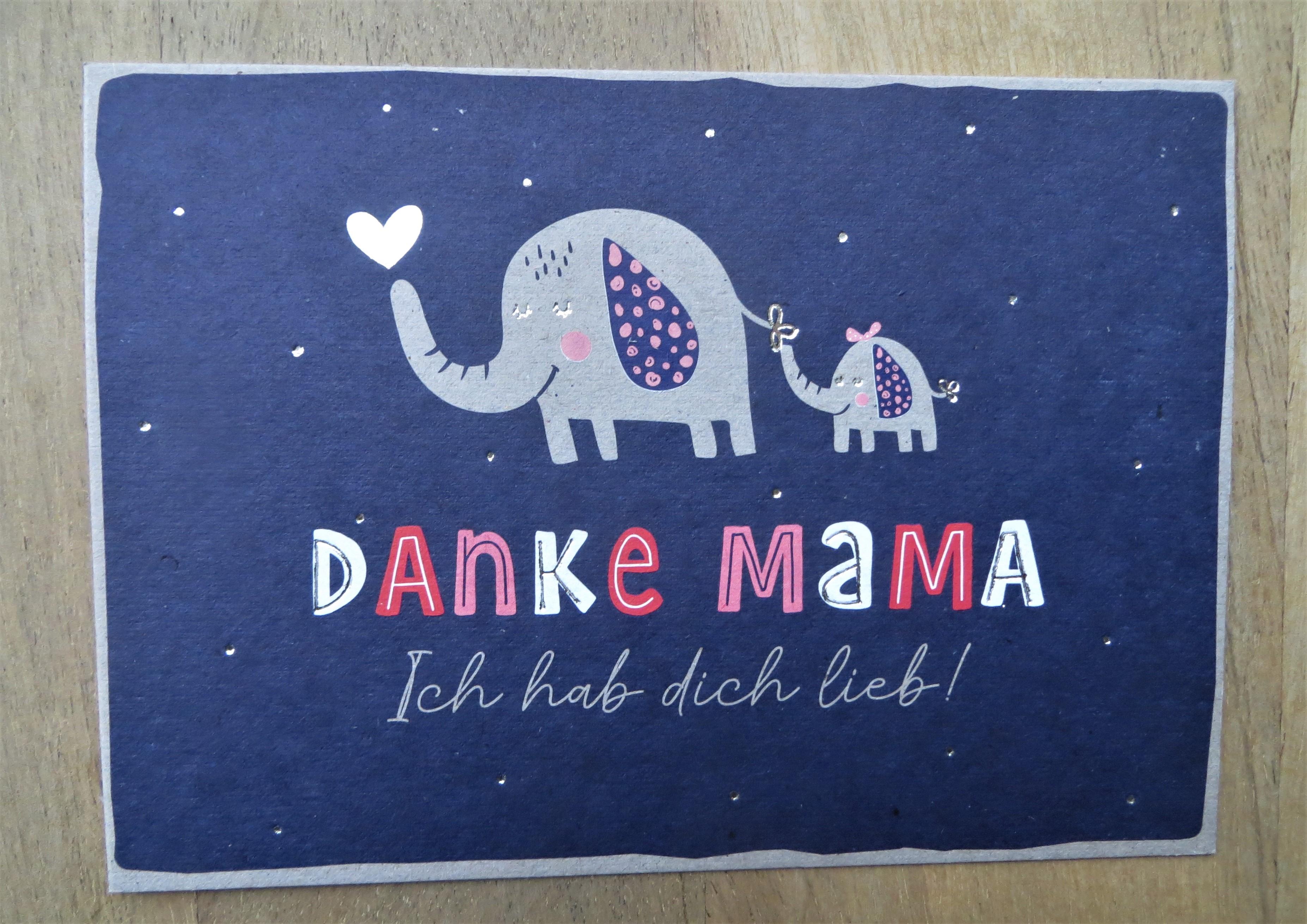 Nützlichgrusskarten - Postkarte Danke Mama Ich hab dich lieb KUNST und BILD - Onlineshop Tante Emmer