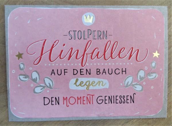 """Postkarte """"Stolpern - Hinfallen- auf den Bauch legen..."""" KUNST und BILD"""