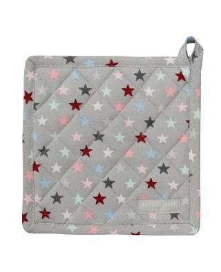 Topflappen grau mit bunten Sternen von Krasilnikoff