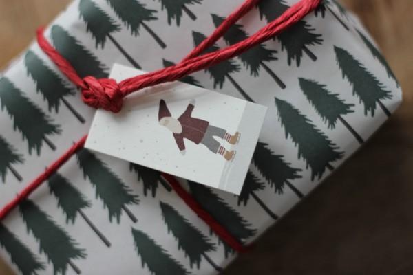 Weihnachts-Geschenkanhänger/ Karte - Weihnachtsmann/ Wichtel - Ib Laursen
