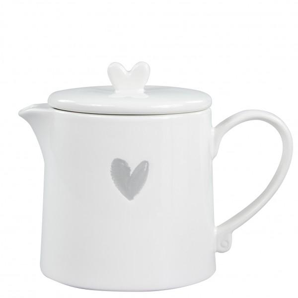 Teekanne weiß mit grauem Herz Bastion Collection B.V.
