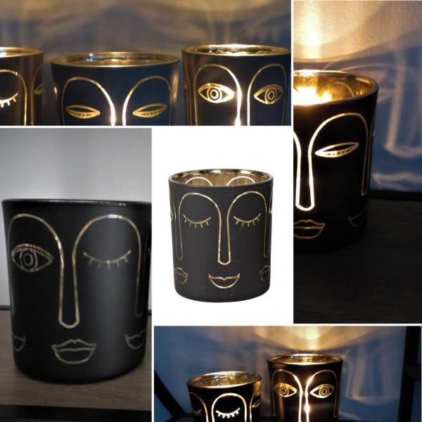 """Glas-Windlicht """"Gesicht"""" Schwarz-Gold, 8cm, Speedtsberg"""