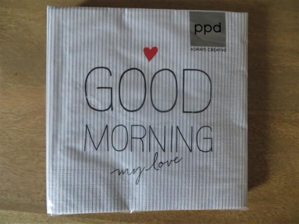 "Servietten weiß-grau gestreift ""Good morning my love"", 16x16 cm"