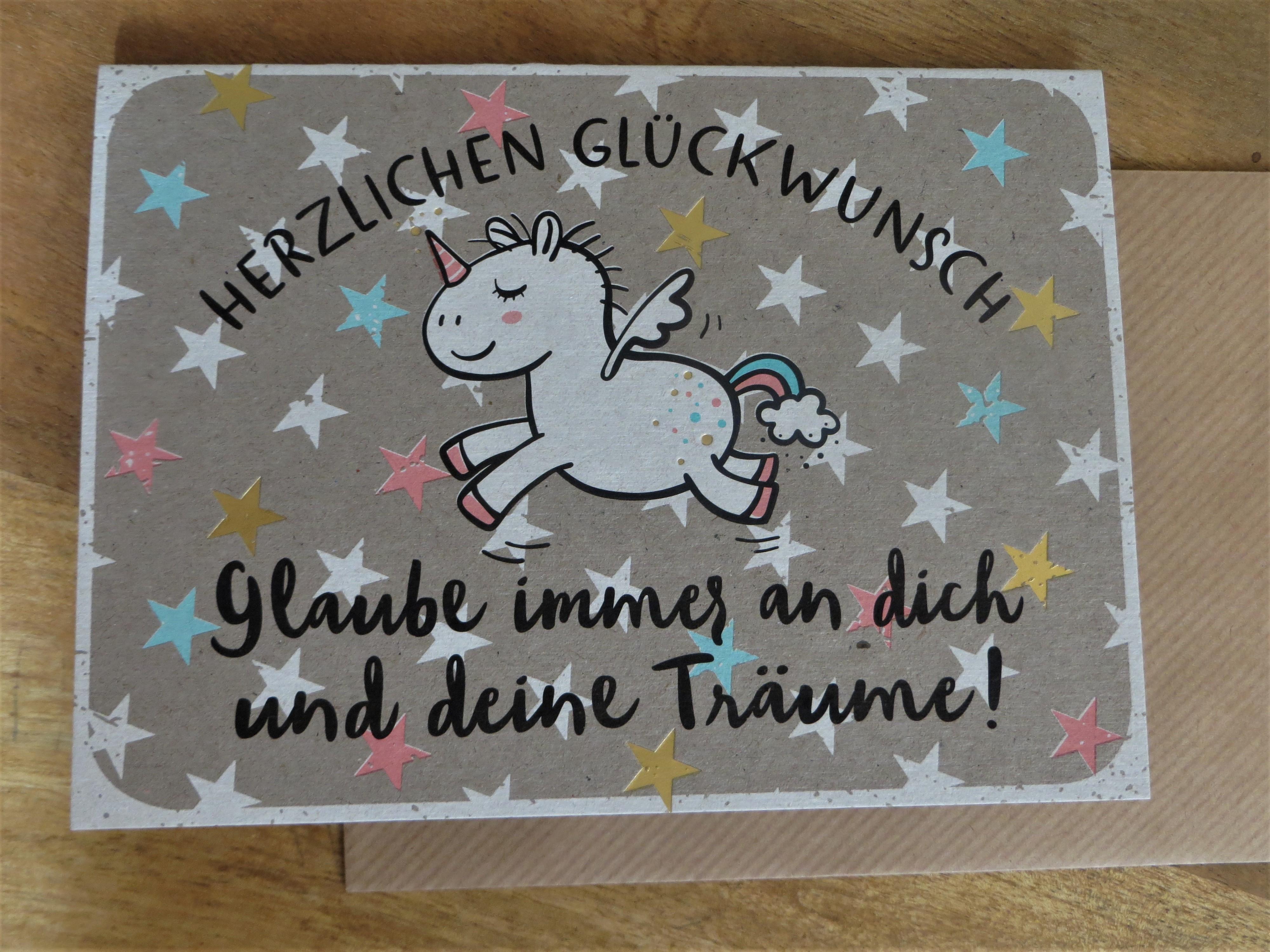 Klappkarte Umschlagkarte Herzlichen Glückwunsch Glaube immer an dich... KUNST und BILD