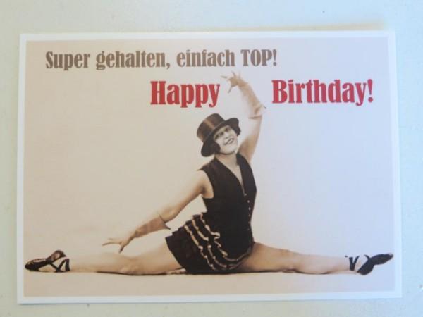 """Postkarte Karte """"Super gehalten, einfach TOP! Happy Birthday!"""" Paloma"""