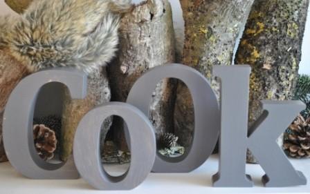 "Schriftzug ""COOK"" grau/braun MADLEYS"