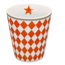 Mug Kaffeebecher orange harlekin gerautet