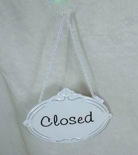 "Metall Schild ""Closed"""
