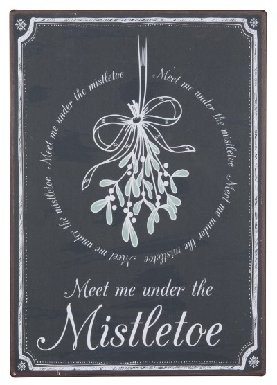 "Metallschild ""Meet me under the Mistletoe"""