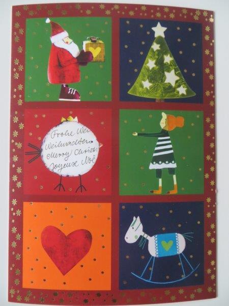 Postkarte Weihnachtskarte Frohe Weihnachten Merry Christmas Joyeux... Kultura