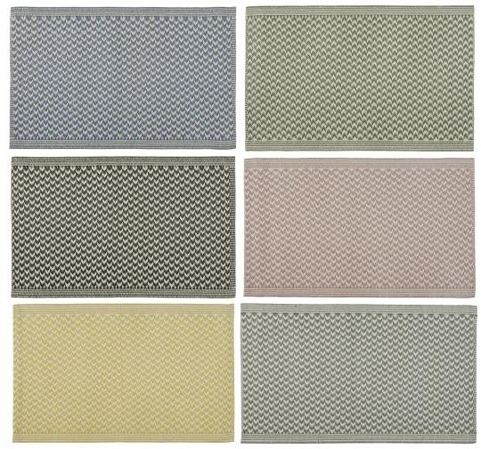 Teppich,Bodenmatte, gestreift, aus Recyclingplastik, gelb-weiß, Ib Laursen
