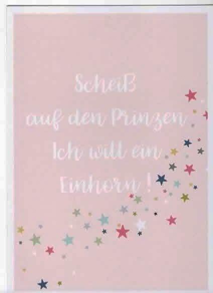 """Karte Postkarte """"Scheiß auf den Prinzen Ich will ein Einhorn!"""""""