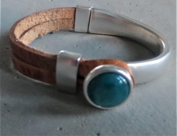 QOSS Armband GWEN natural--seeblau L