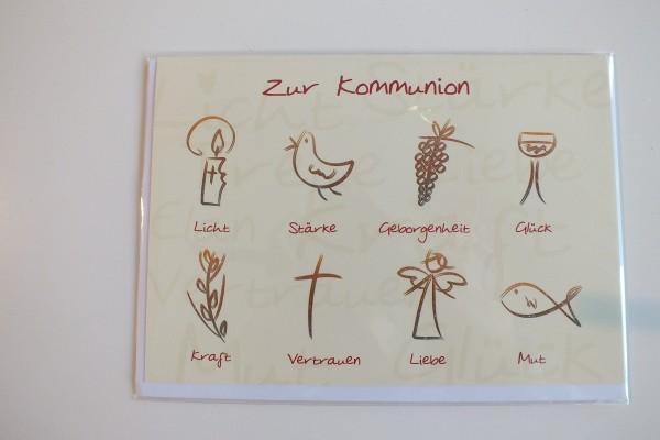 """Klappkarte """"Zur Kommunion Licht Stärke Geborgenheit Glück Kraft Vertrauen..."""" Gutschverlag"""