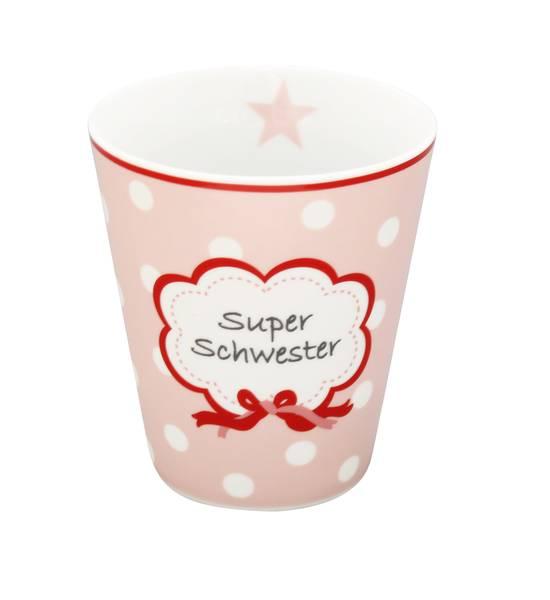 Mug Kaffeebecher Super Schwester in rosa