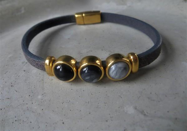 QOSS Armband MILO GOLD Vintage Schwarz/ Anthrazit, L