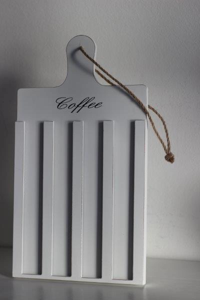 Kaffeepadhalter aus Holz weiß