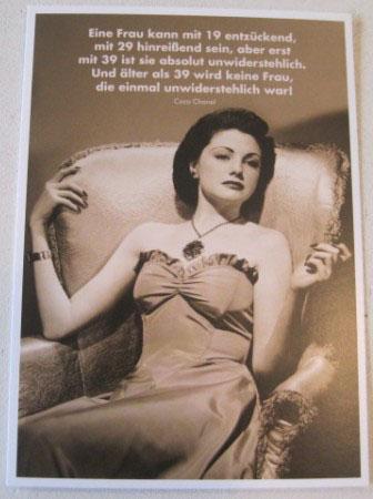 Postkarte KarteEine Frau kann mit 19 entzückend mit 29.... Paloma