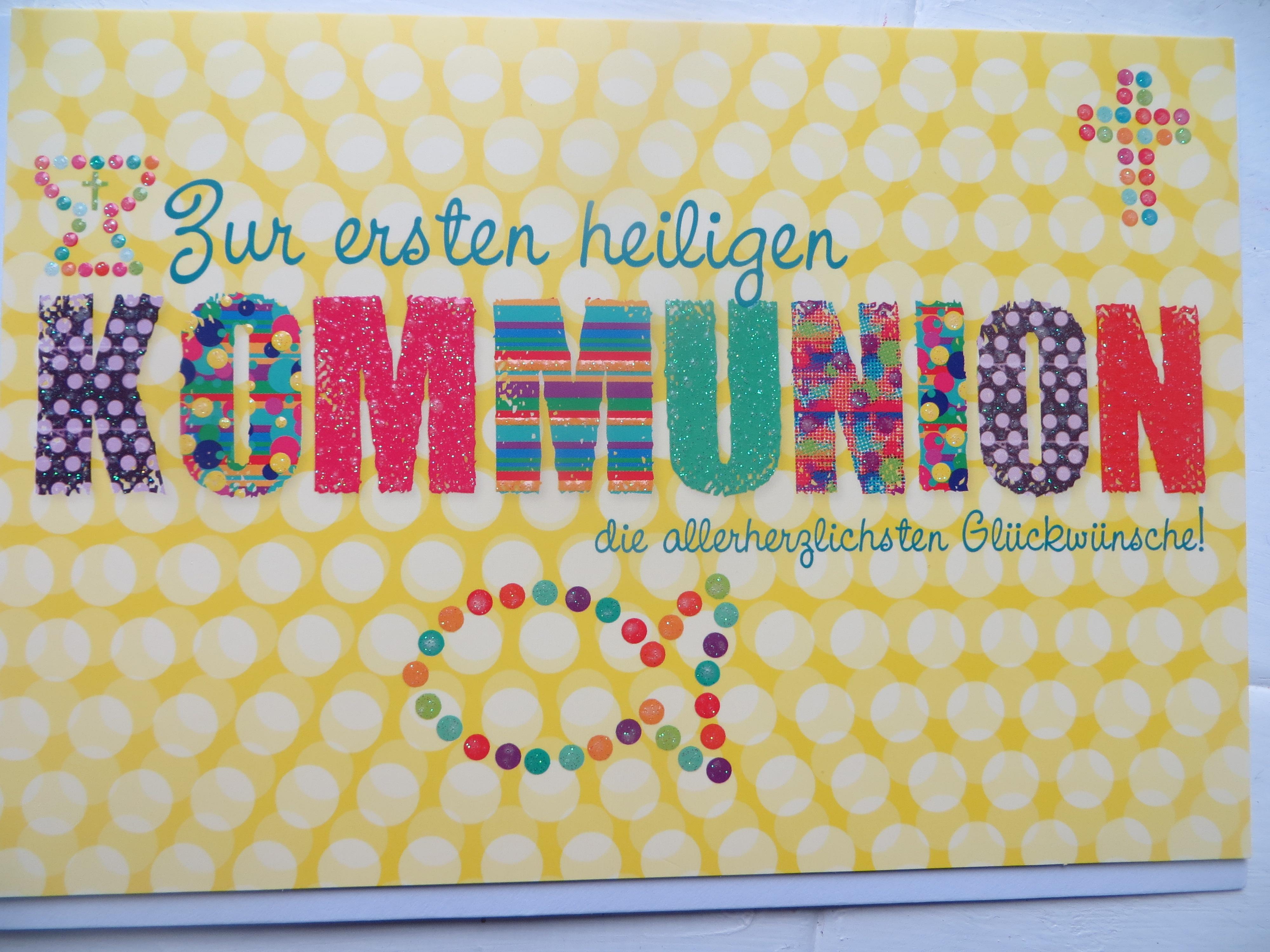 Nützlichgrusskarten - Klappkarte Zur ersten heiligen Kommunion die allerherzlichsten Glückwünsche - Onlineshop Tante Emmer