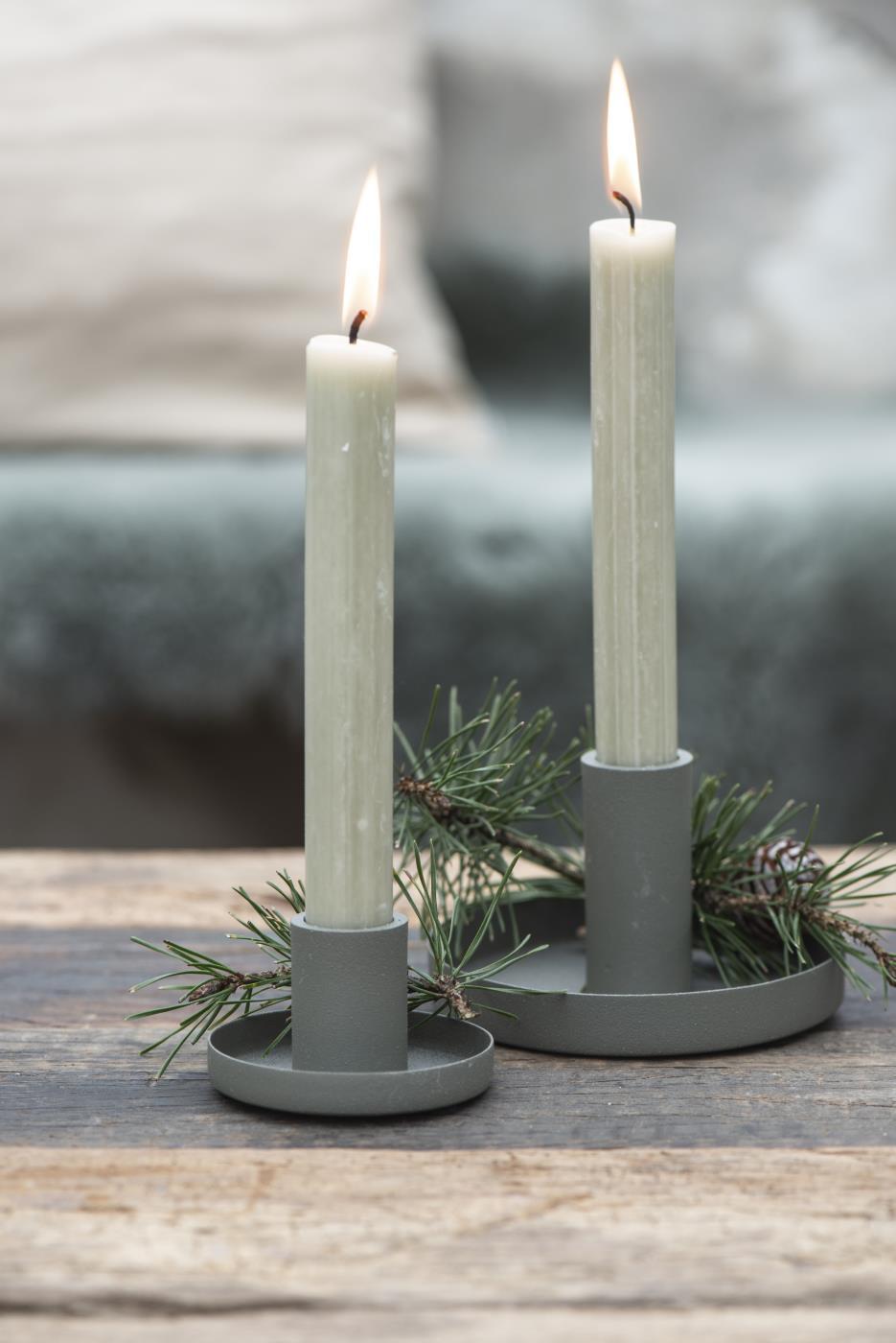 Nützlichdekoration - Kerzenständer Kerzenhalter für Stabkerze Staubgrün Ib Laursen ApS - Onlineshop Tante Emmer