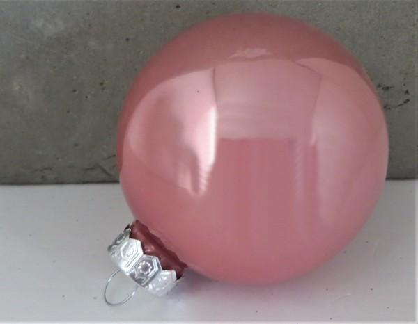 Christbaumschmuck Glaskugel rosa glänzend, Farbe 2, 6 cm