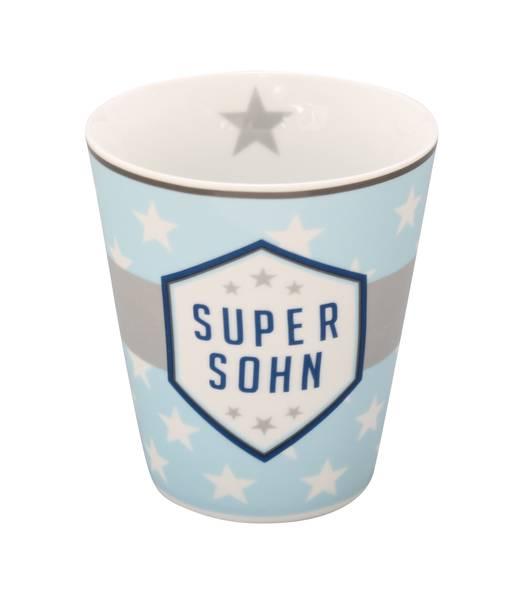 Mug Kaffeebecher Super Sohn in hellblau