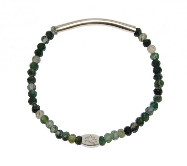 MAS jewelz Armband im Facettenschliff, Moosachat/Silber