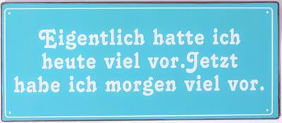 Witzigschilder - Metall Schild mit der Aufschrift Eigentlich hatte ich heute - Onlineshop Tante Emmer