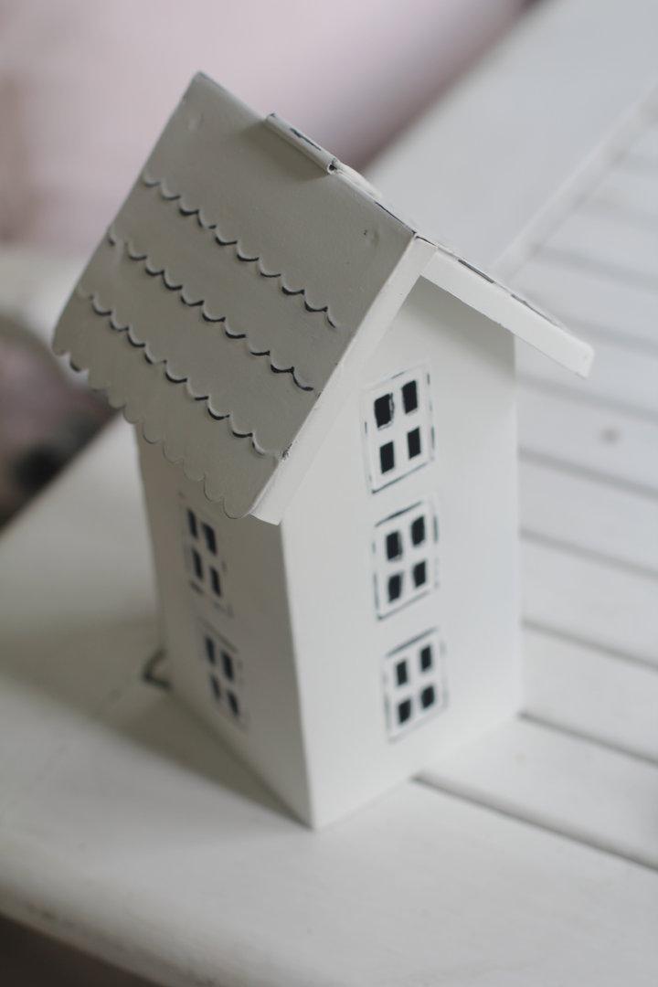 Windlicht Haus mit 3 Etagen weiss