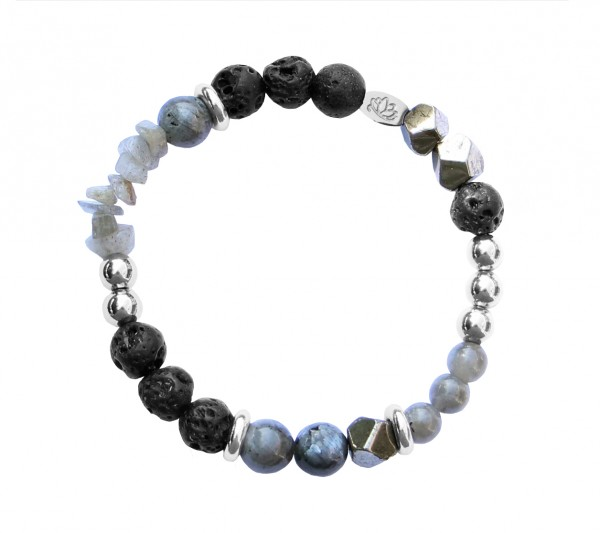 MAS jewelz Armband Lava/ Pyrit/ Labradori/ Larvikit/ Silber