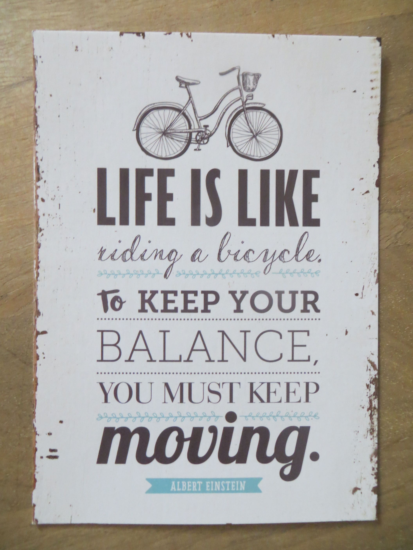 Postkarte LIFE IS LIKE riding a bicycle. TO KEEP BALANCE... Vintage Art