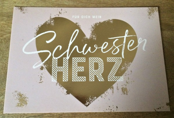 """Postkarte """"Für dich mein Schwester Herz"""""""