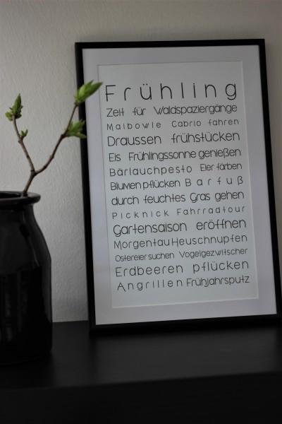 "Bild/ Druck ""To Do Liste FRÜHLING"" weiß, 16x26cm"